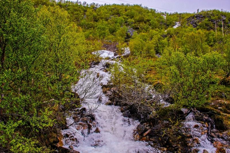 Porsangenfjord Snow Melt Waterfall